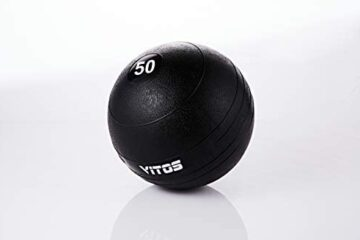 Vitos Fitness Exercise Slam Medicine Ball 10 to 70 Pounds | Durable Weighted Gym Accessory Strength Conditioning Cross Training Core Squats Lunges Spike Ball Rubber Weight Workout