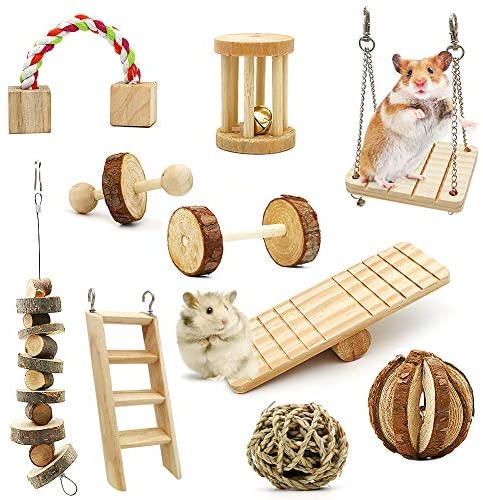 ZALALOVA Hamster Chew Toys, 10Pack MSDS Approved Natural Wooden Pine Guinea Pigs Rats Chinchillas Toys Accessories Dumbells Exercise Bell Roller Teeth Care Molar Toy for Bunny Rabbits Gerbils