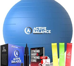 Active Balance Exercise Ball with Resistance Bands & Hand Pump – Premium Balance Ball for Fitness, Health, Relief & More – No-Slip Stability Ball