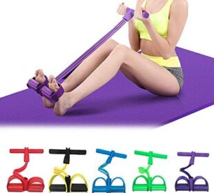 CWM Pedal Resistance Bands Super Light Exercise Bands 4-Tube Yoga Strap Elastic Pull Rope Fitness Equipment for Abdomen, Waist, Arm, Yoga Stretching Slimming Training