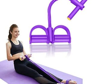 GGAME Pedal Resistance Band, 4 Tube Pedal Ankle Puller Multi-Function Leg Tummy Training Foot Sit-Up Pedal Elastic Pull Rope Fitness Equipment,for Abdomen/Waist/Arm/Leg Stretching Slimming Training