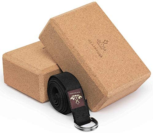 Heathyoga Yoga Block (2 Pack) and Yoga Strap Set, High Density EVA Foam Block to Support and Improve Poses and Flexibility