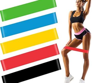 LONSUN Mini Resistance Loop Bands Exercise Workout Bands for Working Out, Home Gym Fitness, Stretching, Yoga, Physical Therapy, Natural Latex Loop Bands 5 Set