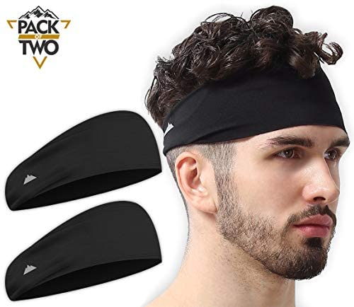 Mens Headband - Sports Running Sweat Head Bands - Athletic Sweatbands Hair Band for Workout, Basketball, Exercise, Gym, Cycling, Football, Tennis, Yoga - Performance Stretch Moisture Wicking Hairband