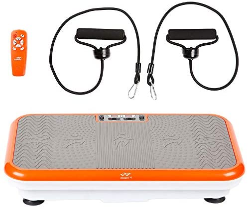 Powerfit Elite Vibration Plate Exercise Machine with Loop Resistance Bands - Whole Body Workout Fitness Platform for Home Training and Shaping