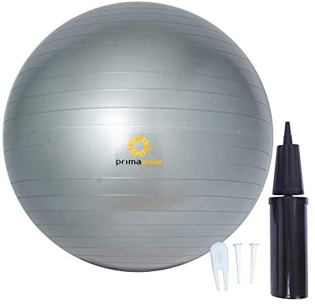 Primasole Exercise Ball (21.7inch Silver Gray) for Stability, Balance, Fitness with Inflator Pump Balance Ball PSS91NH061A
