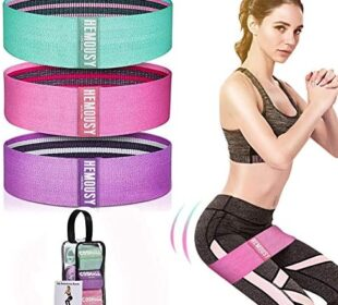 Resistance Bands Set, Workout Bands Resistance for women Legs and Butt Exercise Bands - 3 Levels Non Slip Elastic Booty Bands Wide Fitness Bands Hip Resistance Band for Squat Glute Yoga Pilates