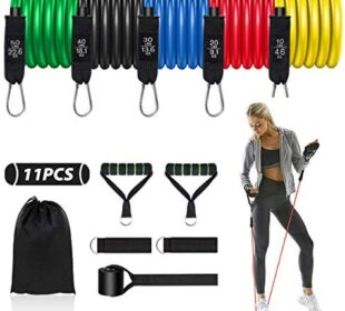 Resistance Bands Set for Man Fitness Bands Resistance Tube Men 11PCS Exercise Bands with Handles Ankle Straps Door Anchor for Resistance Training Home Workouts Strength Bands Yoga