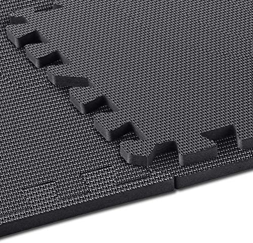 "arteesol Exercise Mats - 18 Tiles Protective Flooring Each 12"" x 12"", Premium Gym Mats EVA Interlocking Foam Tiles Workout Mats for Fitness Equipment Gym Equipment (Black-18pcs)"