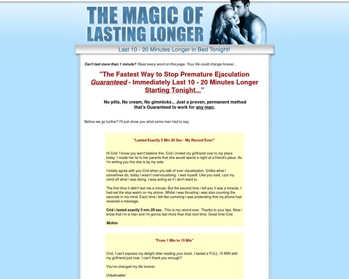 The Magic Of Lasting Longer - Stop Premature Ejaculation and Last Longer in Bed