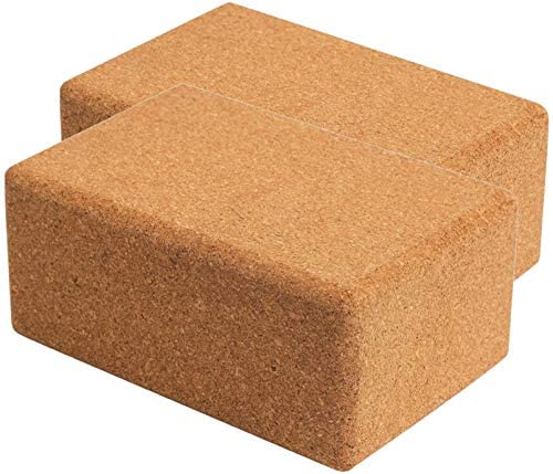 "Volcano Cork Yoga Block (2 Pack Set-100% Natural Cork from Europe, 4""&3"" Yoga Block Non-Slip&Anti-Tilt for Women