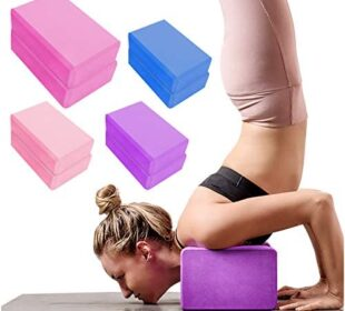 2 Pack Yoga Blocks High Density EVA Foam Brick Soft Non-Slip Surface Exercise Bricks Stability and Balance for Exercise, Yoga, Pilates, Meditation, Aid Balance