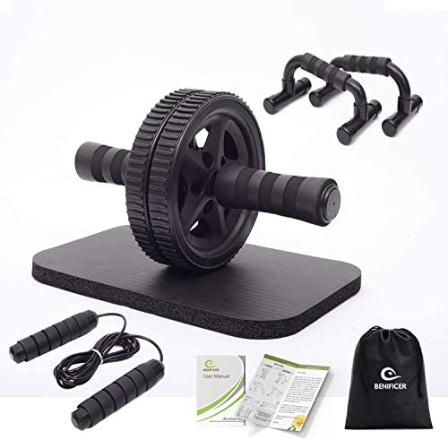 Benificer 4-in-1 AB Wheel Roller Kit with Push Up Bars, Jump Rope and Knee Pad - Perfect Abdominal Core Strength Training Home Gym Equipment