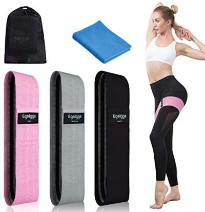 Resistance Bands, EgoIggo Booty Bands for Legs and Butt, Non Slip Elastic Exercise Bands Workout Bands Set for Women/Men, 3 Pack Loops Fitness Bands for Squat Glute Hip Training with Cool Towel