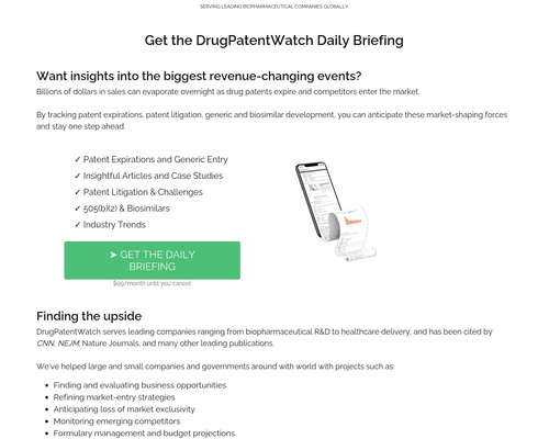 DrugPatentWatch Daily Briefing: Get Daily Updates on Generic Entry, Litigation, Biosimilars, and more...
