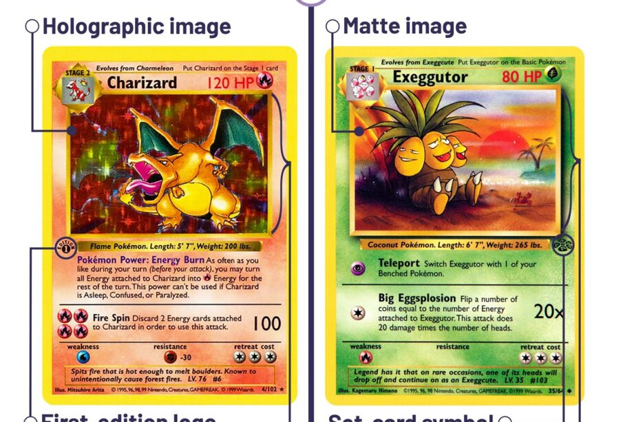 A graphic compares rare and common Pokemon cards