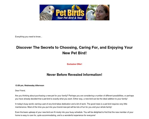 Discover The Secrets to Choosing, Caring For, and Enjoying Your New Pet Bird! - Pet Bird eBook